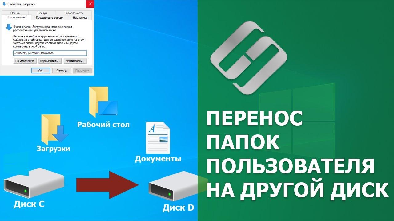 Как перенести папку Загрузки, Документы, Изображения, Рабочий стол на другой диск
