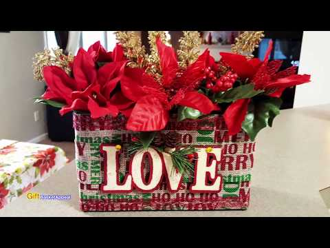 UPCYCLED OATMEAL BOX | CHRISTMAS FLOWER BOX | DOLLAR TREE CRAFTS 2017
