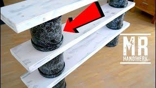Regal aus KG Rohre selber bauen II Marmor Effect Lack DIY
