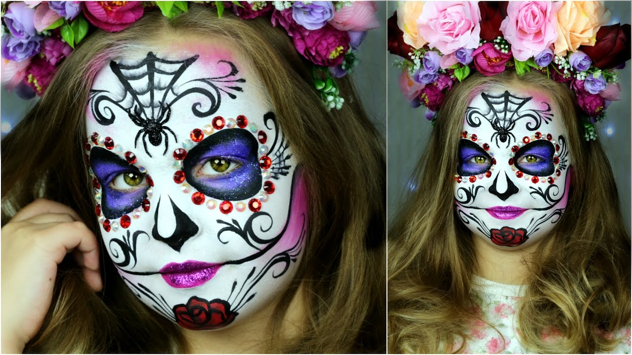 sugar skull makeup for kids halloween face painting youtube