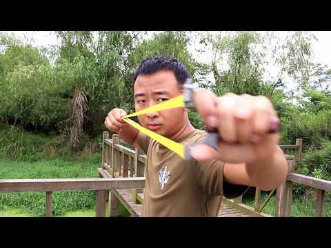 Amazing skills slingshot master extreme accuracy slingshot shooting