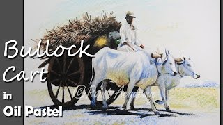 How to Paint Bullock Cart in Oil Pastel | step by step