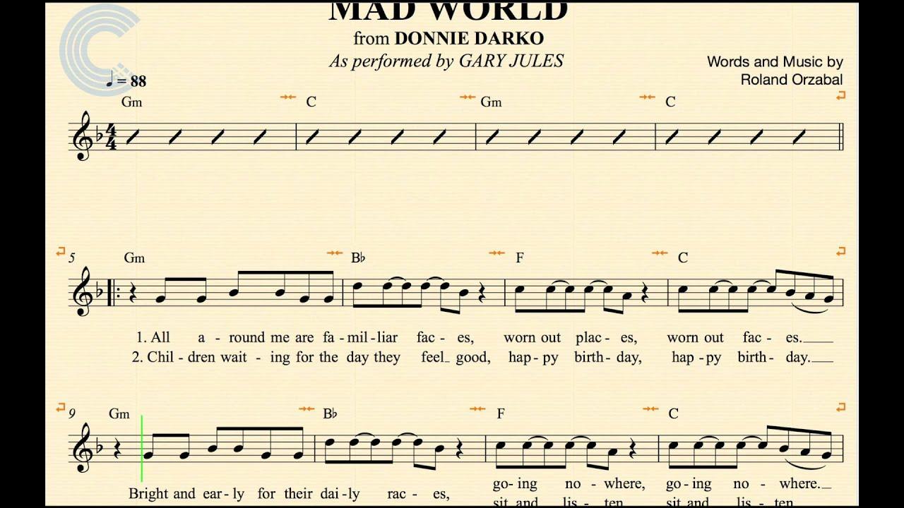 Tenor Sax - Mad World - Gary Jules - Donnie Darko - Sheet Music, Chords, &  Vocals