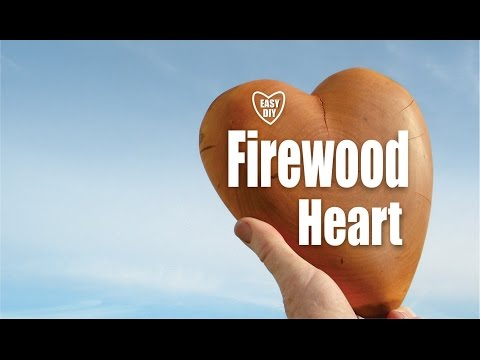 DIY Carved Firewood Heart Valentines Day woodworking craft project
