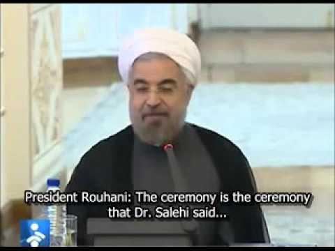 Iran's President Rouhani, FM Zarif joke with AEOI chief Salehi
