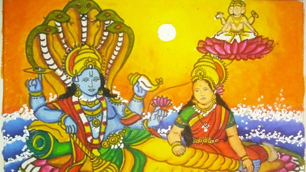 How To Draw Lord Vishnu And Maa Laxmi Youtube