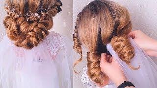 видео Свадебные прически с короткой фатой