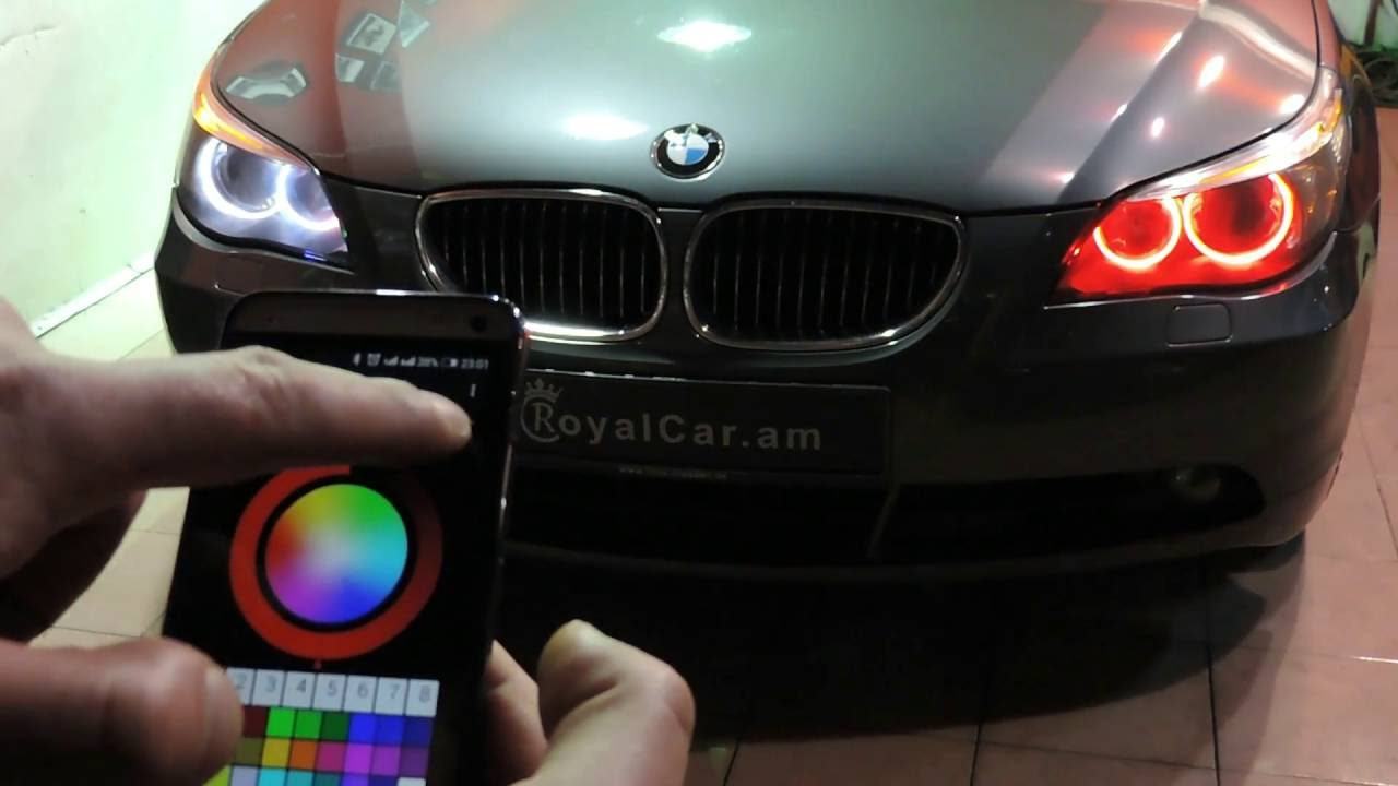 BMW color changing angel eyes, headlights  YouTube