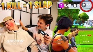 Getting SLAPPED Every Time My Little Brother Gets A KILL In Fortnite: Battle Royale | David Vlas