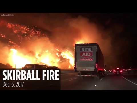 Motorists gasp, scream out in shock at roadside alight from Skirball fire in Los Angeles