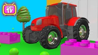 Learn colors with a tractor and other cars - Animation for kids