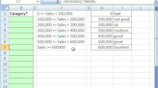Excel Magic Trick 426: VLOOKUP to Assign Category To A Sales Number