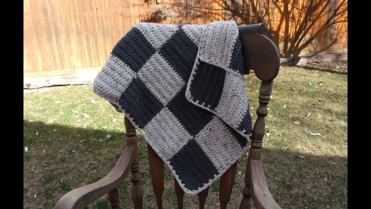 Checkerboard Knitting Pattern Blanket : How to crochet a checker board baby blanket - YouTube