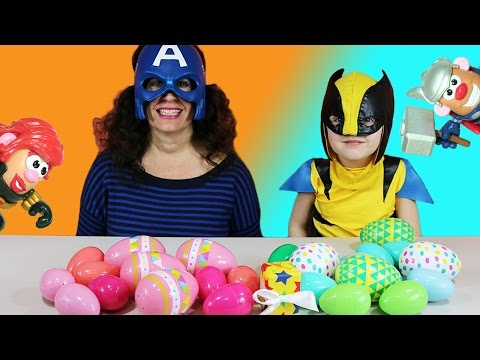 Surprise Egg Super Hero Potato Head Contest W/ New Toy Surprise Kid As Wolverine!