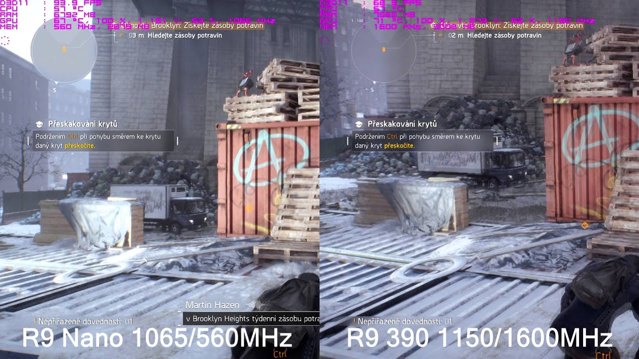 R9 Nano Vs R9 390 Overclocked The Division gameplay by Petr Bohm