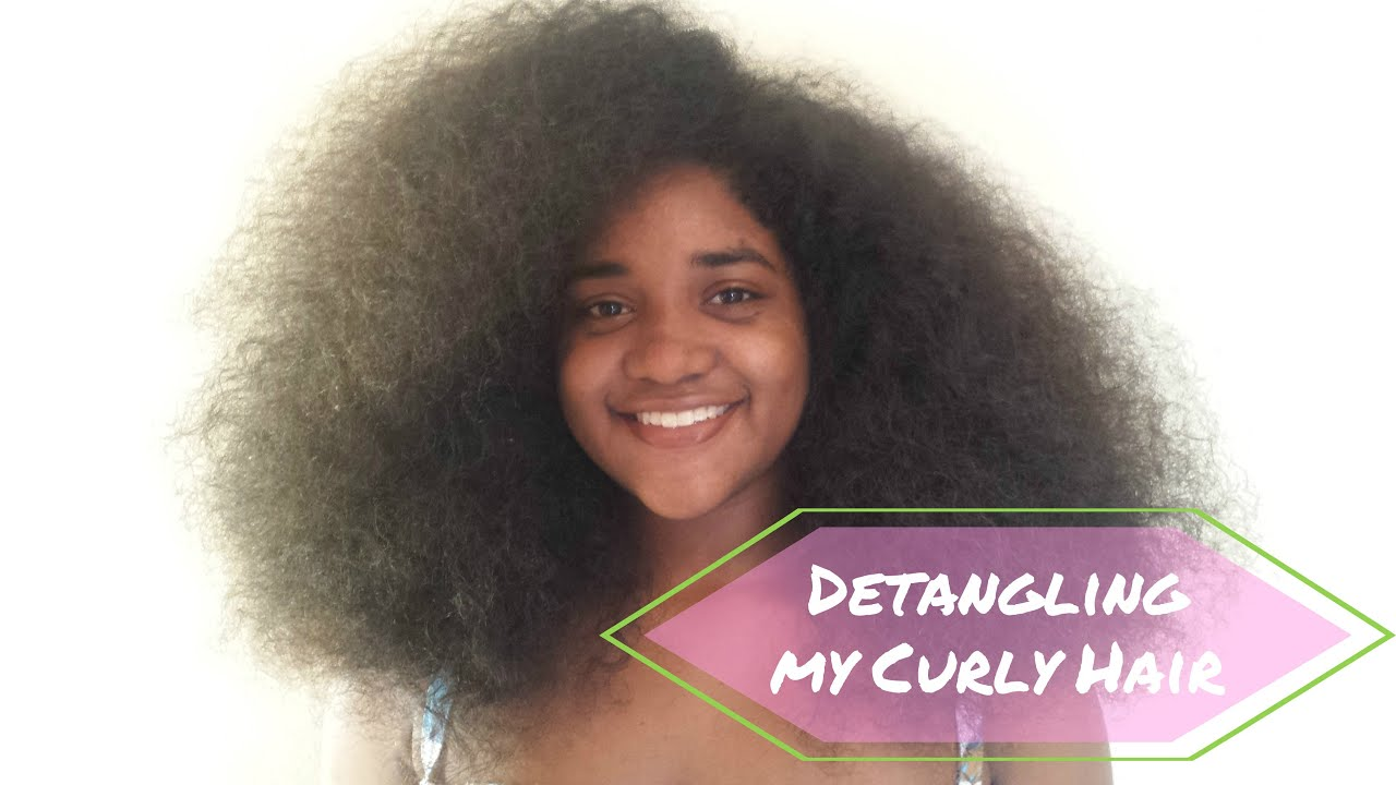 How to Detangle LONG THICK CURLY HAIR - YouTube