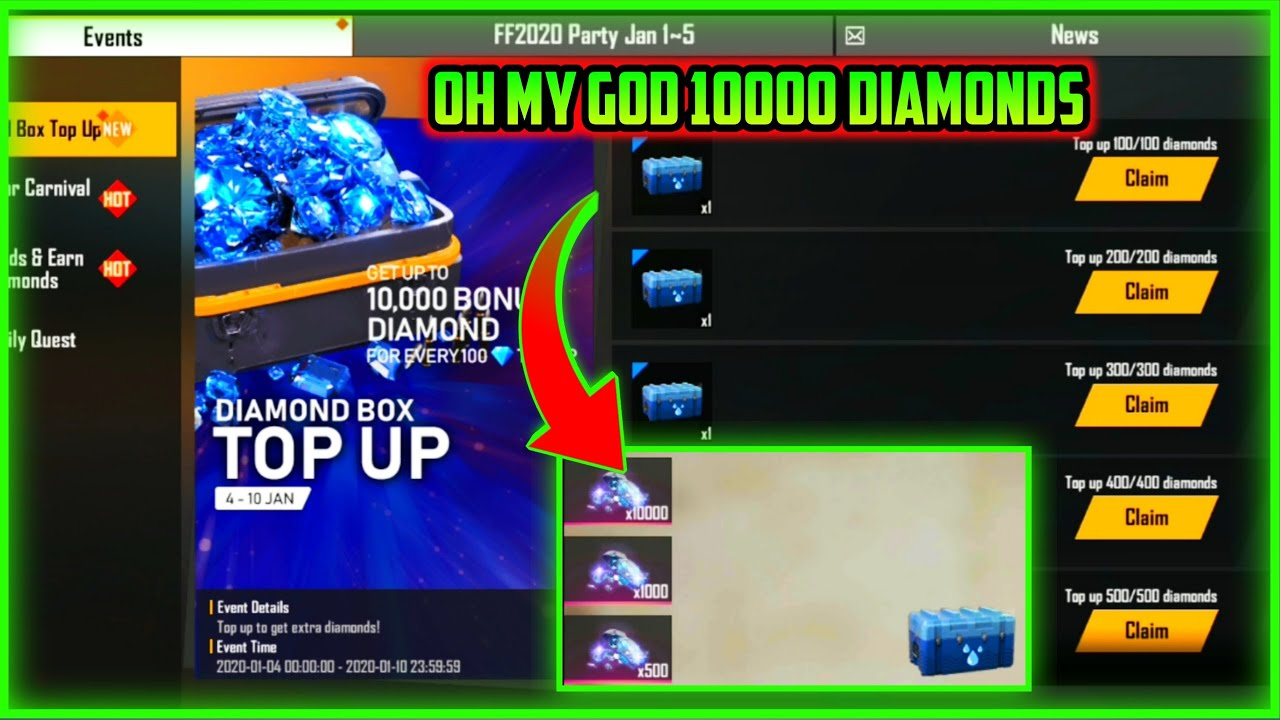 How To Get 10000 Diamonds From Top Up Event Free Fire New Event Full Details Mg More Youtube