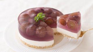 ぶどうのレアチーズケーキの作り方 No-Bake Grape Cheesecake|HidaMari Cooking