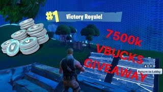 HUGE GIVEAWAY 7500K VBUCKS!! FORTNITE BATTLE ROYALE | 96 WINS ~ 1000+ Kills (SPONSOR GOAL 1/5)