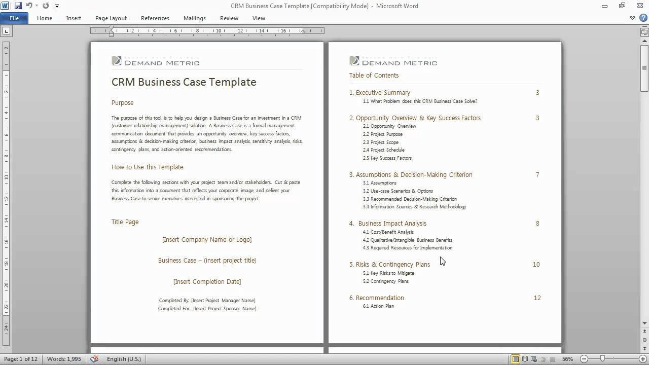 Crm business case template a formal communications for Agile requirements gathering template