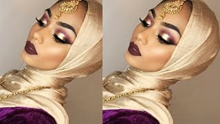 Purple eyeshadow with gold glitter + bold lips | Sabina Hannan