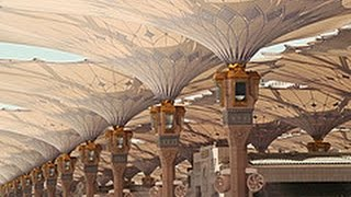 The umbrellas opening at al-Masjid al-Nabawi: Medina