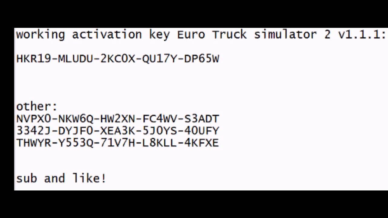 serial key euro truck simulator 2 1.1.1