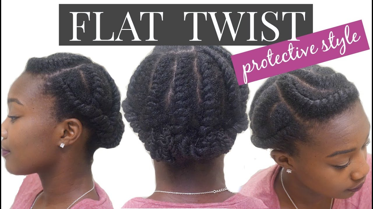 How To Do A Flat Twist Protective Style Natural Hair Youtube