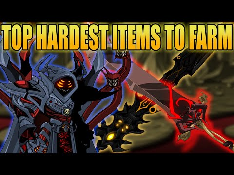 AQW- TOP 10 HARDEST ITEMS TO FARM(End Game Items) + HOW TO GET