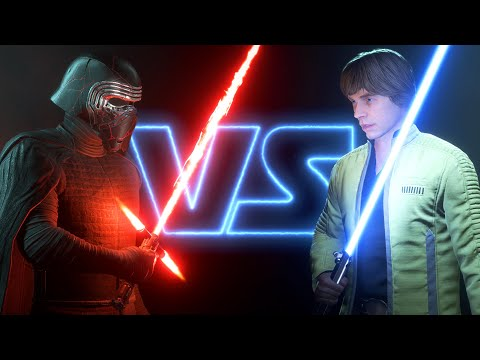Kylo Ren vs Luke Skywalker - Lightsaber Duels - Battlefront 2