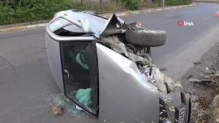 Pendik'de Virajı Alamayan Otomobil Devrildi, Sürücü Ağır Yaralandı