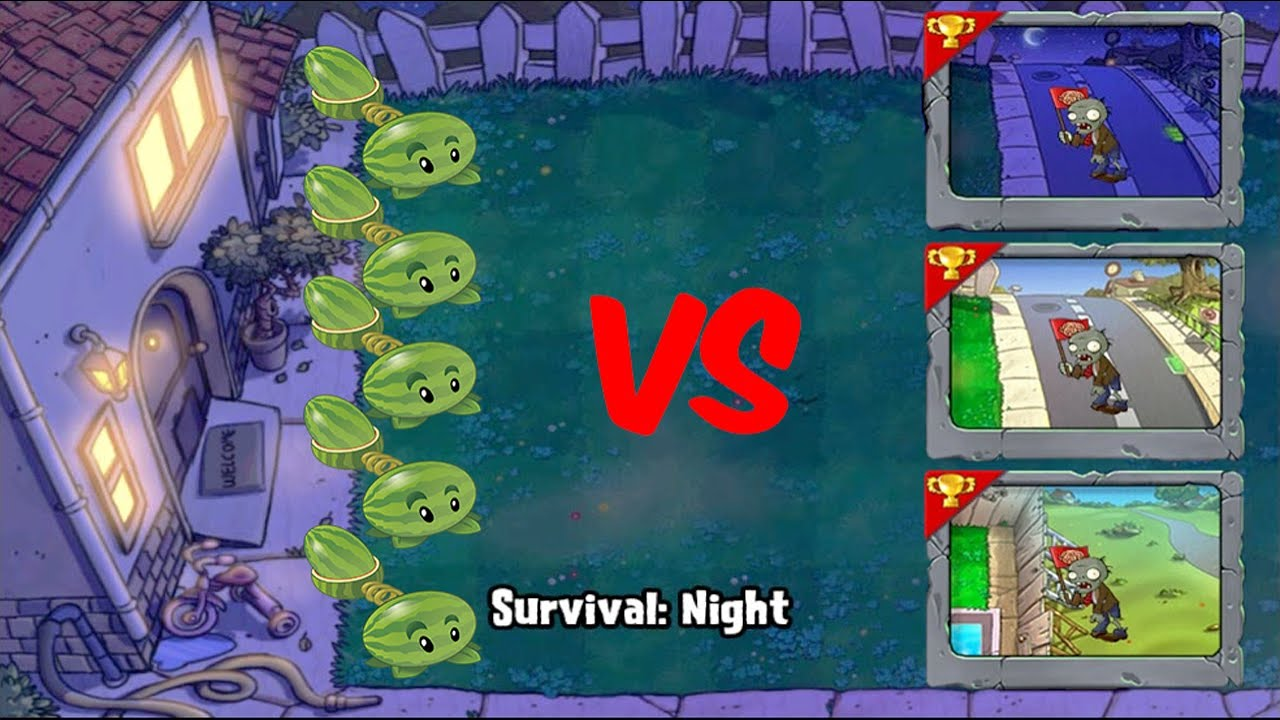 Best strategy Plants vs Zombies | Through 5 Survival Using Melon-pult