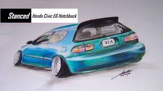 Stanced Honda Civic EG Hatchback | Realistic Car Drawing