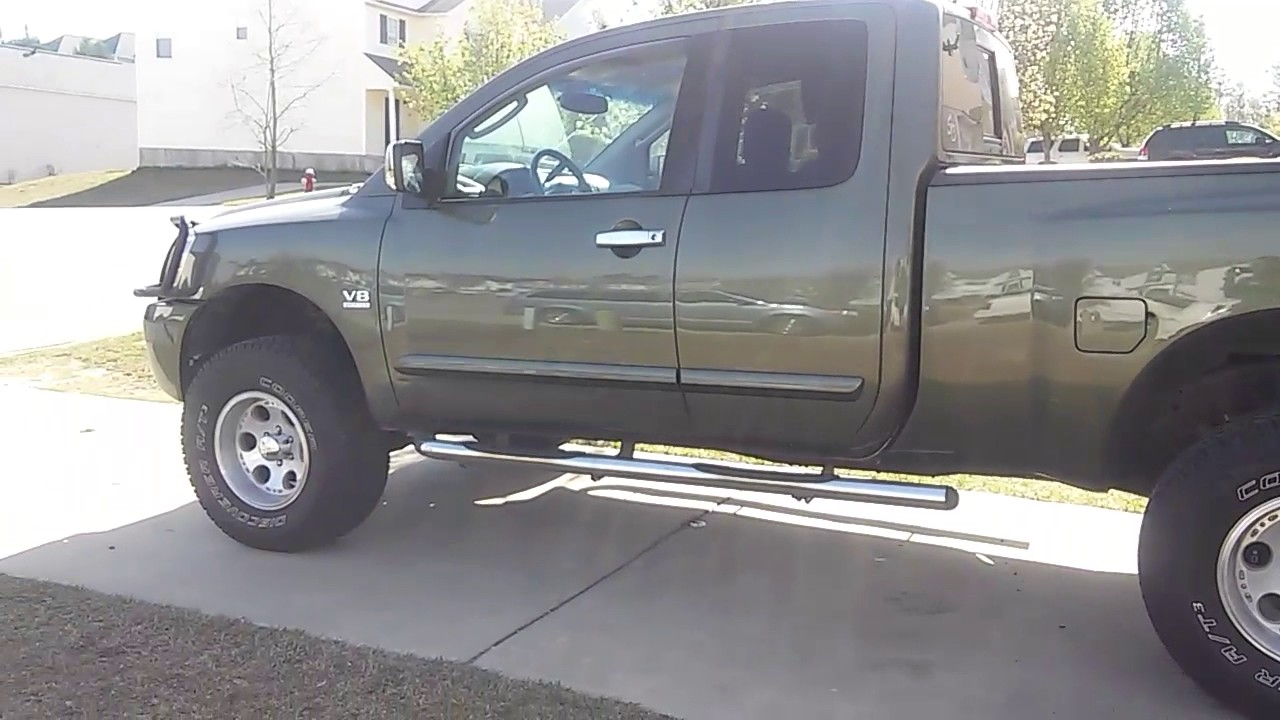 04 nissan titan king cab with 4 inch rancho lift youtube. Black Bedroom Furniture Sets. Home Design Ideas