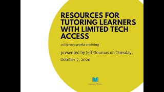 Resources for Tutoring Adults with Limted Tech Access