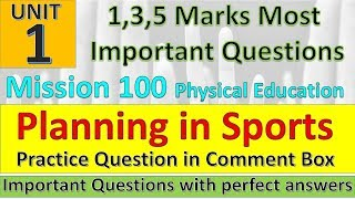 Planning in Sports Important Questions   Physical Education Mission 100   Practice Questions