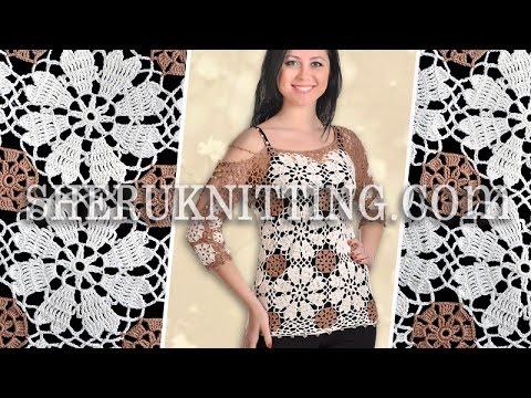 Crochet Round Motif Blouse Model 24 Crochet Blouse For Women Youtube