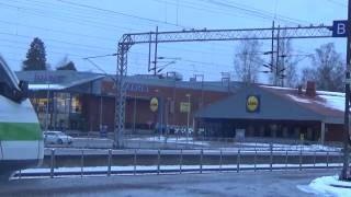 Finnish Pendolino high speed train stops at Karis