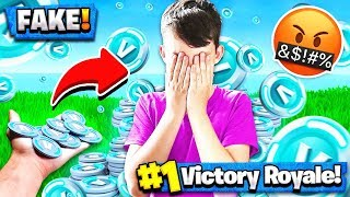 TROLLING MY LITTLE BROTHER w/ FAKE V-BUCKS! Fortnite: Battle Royale Gameplay