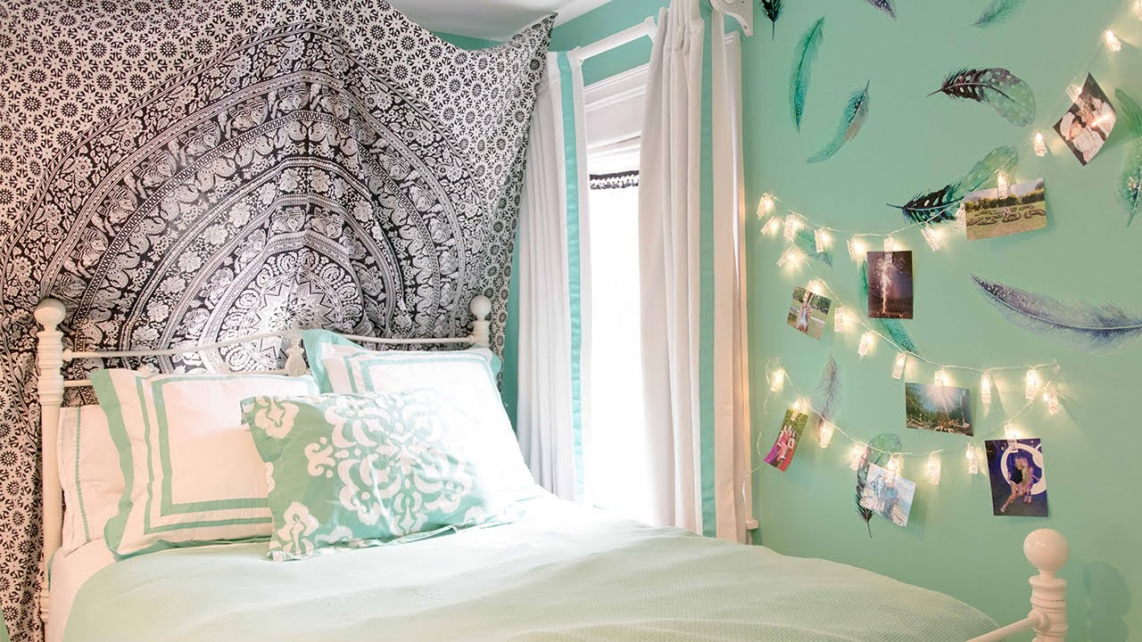 Diy boho bedroom makeover tumblr inspired youtube for Bedroom makeover inspiration