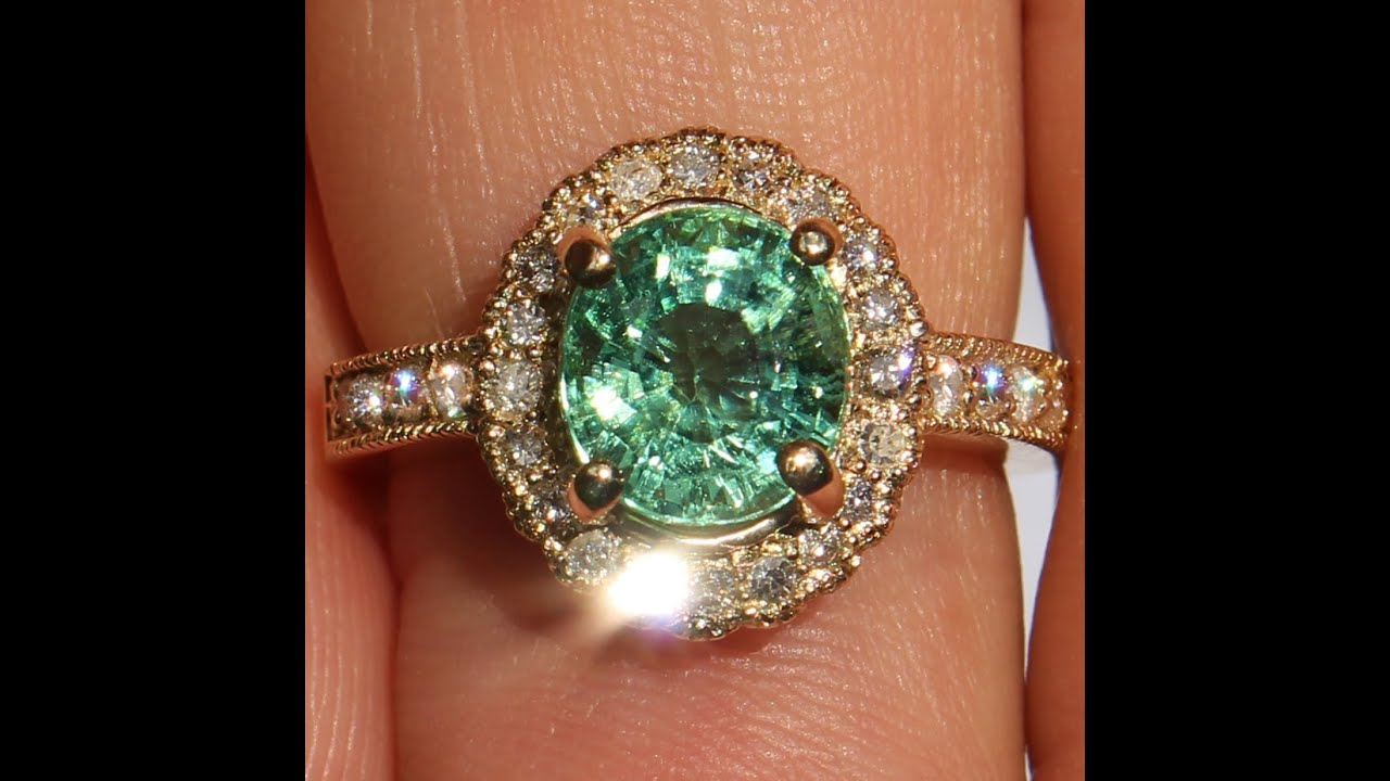High End 14k Green Paraiba Tourmaline Diamond Ring No Reserve !