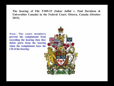The hearing of File T-909-15 in the Federal Court, Ottawa, Canada