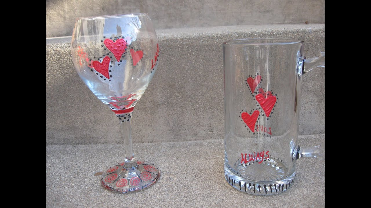 Valentine S Day Glassware Craft Tutorial Youtube