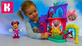 Минни Маус зоосалон домик с ванной и кошечкой с собачкой Set Minnie Mouse pets saloon unpacking toys