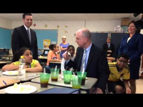 Ken Wagner, the states new Education Commissioner stopped by Calcutt Middle School in Central Falls