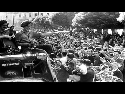 Civilians at Constitution Square celebrate liberation of Greece, and Greece Premi...HD Stock Footage