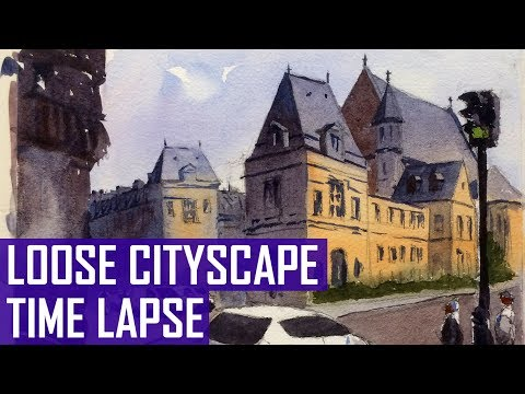 Loose Cityscape Watercolor Painting (Time-Lapse Version)