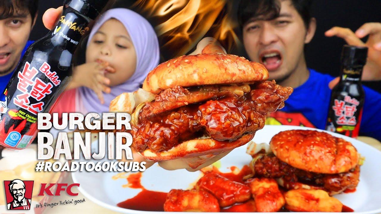 """challenge"" KFC BURGER BANJIR SOS SAMYANG berD4r4 H | misi 60k subs (Mukbang Malaysia)"