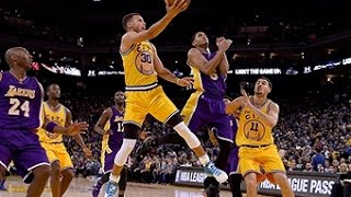 Curry scores 24 points as the warriors defeat lakers and set a nba record going 16-0 to start season.
