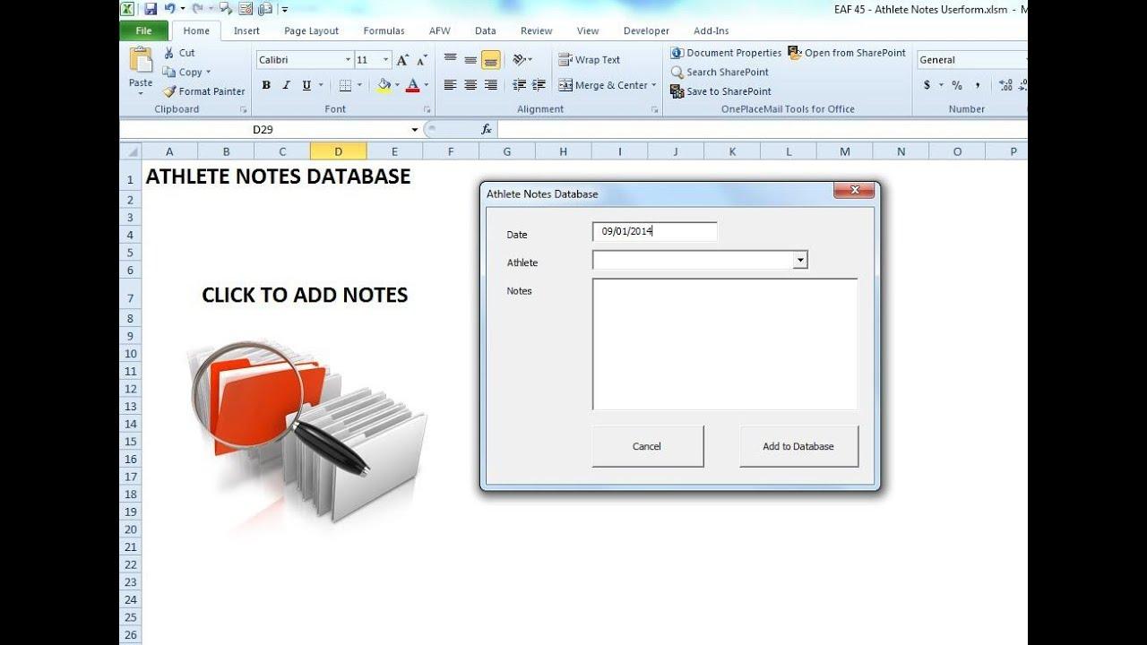 Eaf 45 Manage Athlete Notes Using Excel Vba Userforms Youtube
